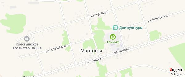 Улица Новоселов на карте села Мартовки с номерами домов