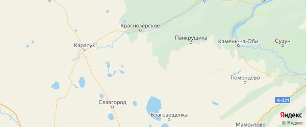 Карта Хабарского района Алтайского края с городами и населенными пунктами