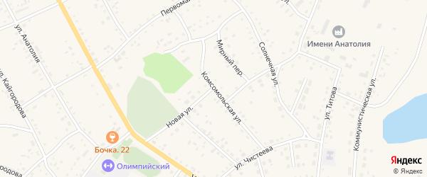 Комсомольская улица на карте села Хабаров с номерами домов
