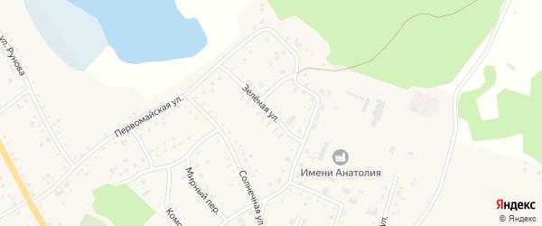 Зеленая улица на карте села Хабаров с номерами домов