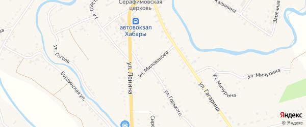 Улица Милованова на карте села Хабаров с номерами домов