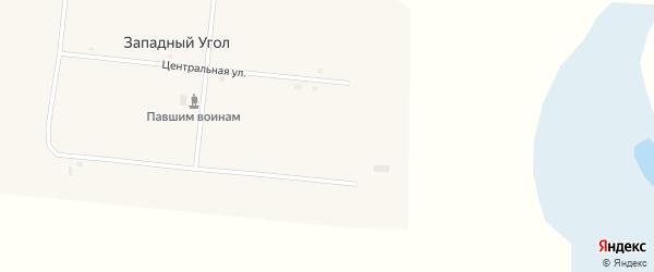 Центральная улица на карте села Западного Угла с номерами домов