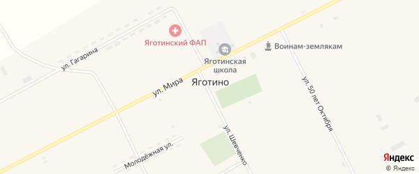 Железнодорожная улица на карте села Яготино с номерами домов