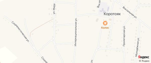Интернациональная улица на карте села Коротояка с номерами домов