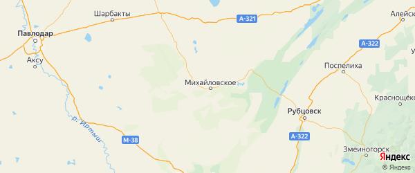 Карта Михайловского района Алтайского края с населенными пунктами и городами