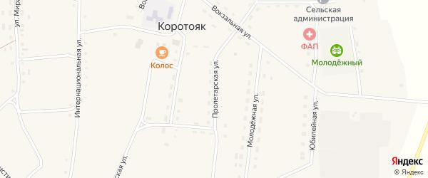 Пролетарская улица на карте села Коротояка с номерами домов