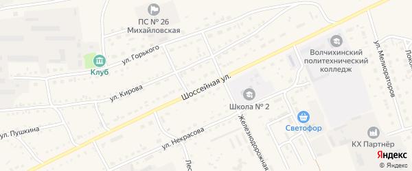 Шоссейная улица на карте Михайловского села с номерами домов