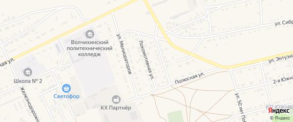 Локомотивная улица на карте Михайловского села с номерами домов
