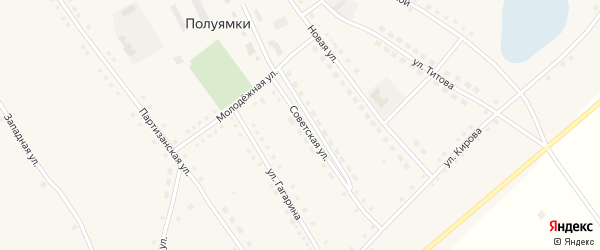 Кирпичная улица на карте села Полуямки с номерами домов