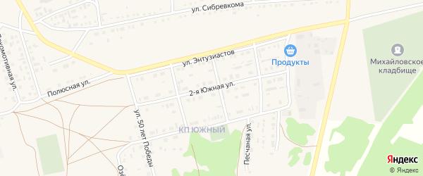 Южная улица на карте Михайловского села с номерами домов