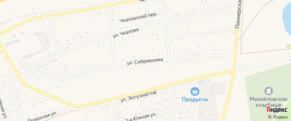 Улица Сибревкома на карте Михайловского села с номерами домов