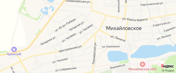 Карта Михайловского села в Алтайском крае с улицами и номерами домов