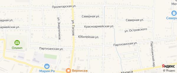 Юбилейная улица на карте Михайловского села с номерами домов