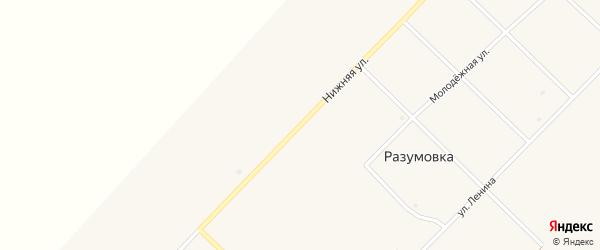Нижняя улица на карте села Разумовки с номерами домов