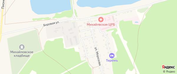 Сосновая улица на карте Михайловского села с номерами домов