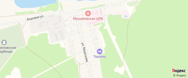 Зеленая улица на карте Михайловского села с номерами домов