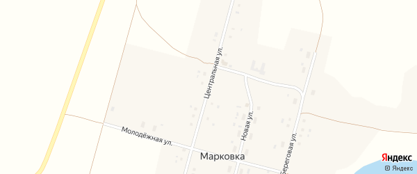 Центральная улица на карте села Марковки с номерами домов