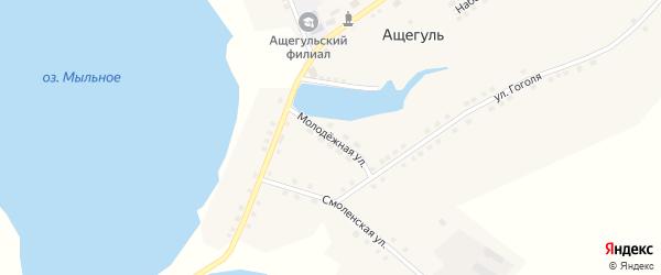 Молодежная улица на карте села Ащегуль с номерами домов