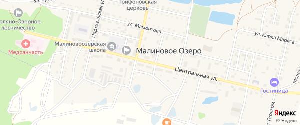 Центральная улица на карте поселка Малинового Озера с номерами домов