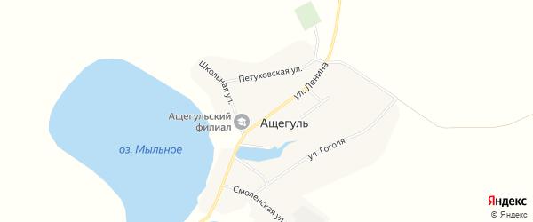 Карта села Ащегуль в Алтайском крае с улицами и номерами домов