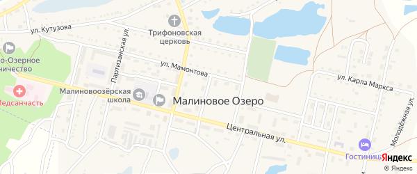 Первомайский переулок на карте поселка Малинового Озера с номерами домов