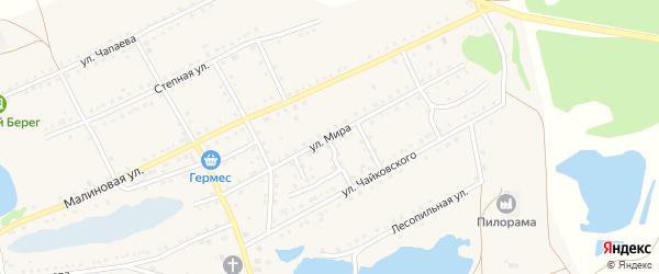 Улица Мира на карте поселка Малинового Озера с номерами домов
