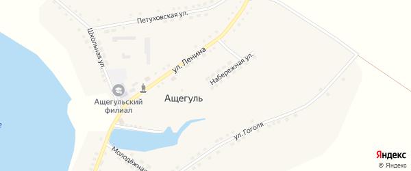 Набережная улица на карте села Ащегуль с номерами домов