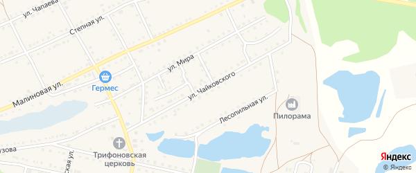 Улица Чайковского на карте поселка Малинового Озера с номерами домов