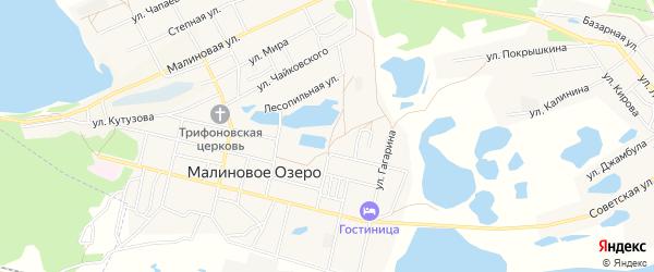 Карта поселка Малинового Озера в Алтайском крае с улицами и номерами домов