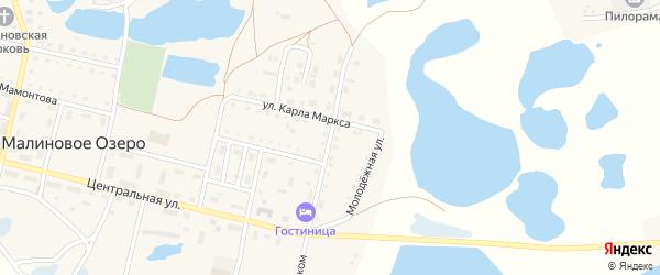Улица Гагарина на карте поселка Малинового Озера с номерами домов