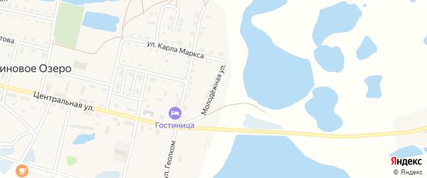 Молодежная улица на карте поселка Малинового Озера с номерами домов