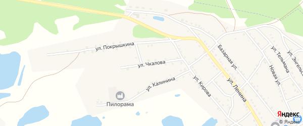Улица Чкалова на карте поселка Малинового Озера с номерами домов