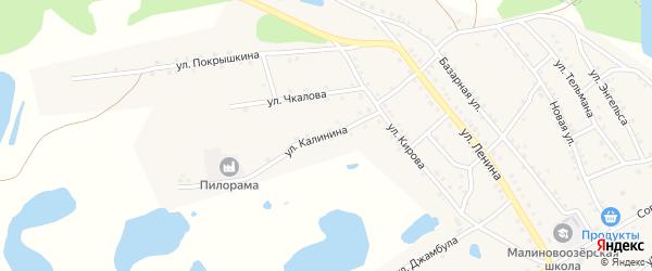 Улица Калинина на карте поселка Малинового Озера с номерами домов