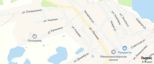 Улица Кирова на карте поселка Малинового Озера с номерами домов
