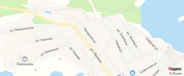 Базарная улица на карте поселка Малинового Озера с номерами домов