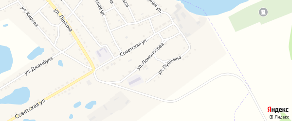 Улица Ломоносова на карте поселка Малинового Озера с номерами домов
