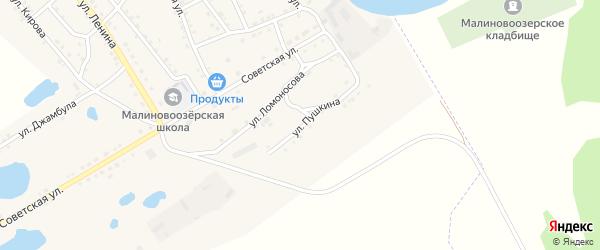 Улица Пушкина на карте поселка Малинового Озера с номерами домов