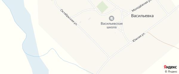 Октябрьская улица на карте поселка Васильевки с номерами домов