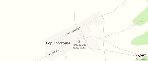 Песчаная улица на карте села Бора-Кособулата с номерами домов