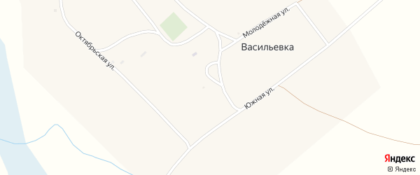 Южный переулок на карте поселка Васильевки с номерами домов