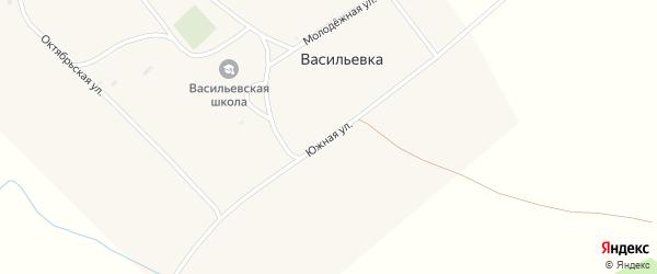 Южная улица на карте поселка Васильевки с номерами домов