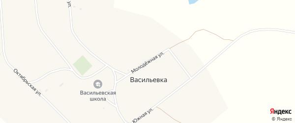 Молодежная улица на карте поселка Васильевки с номерами домов