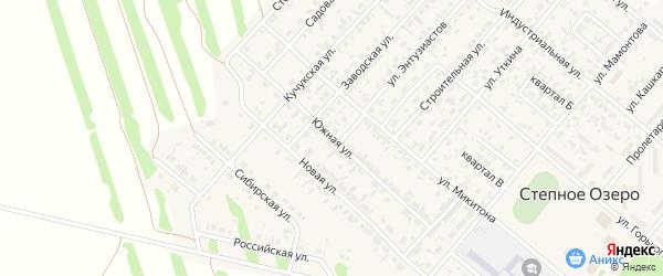 Южная улица на карте поселка Степного Озера с номерами домов