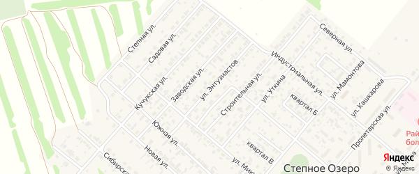 Улица Энтузиастов на карте поселка Степного Озера с номерами домов
