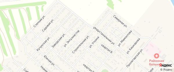Строительная улица на карте поселка Степного Озера с номерами домов
