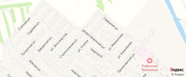 Индустриальная улица на карте поселка Степного Озера с номерами домов