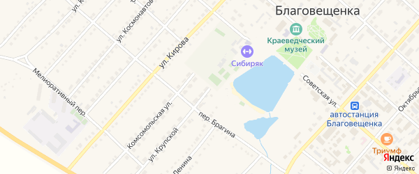Улица Крупской на карте поселка Благовещенки с номерами домов