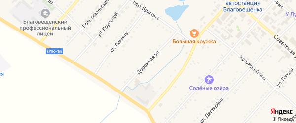 Дорожная улица на карте поселка Благовещенки с номерами домов