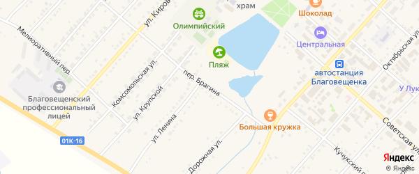 Переулок Брагина на карте поселка Благовещенки с номерами домов