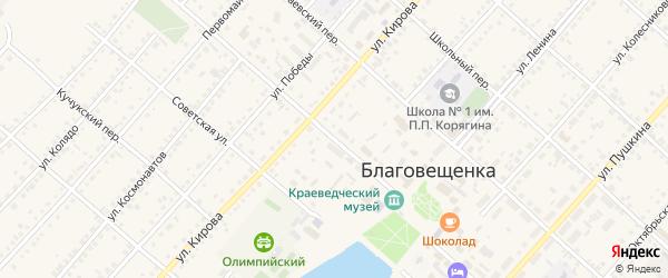 Переулок Кучеровых на карте поселка Благовещенки с номерами домов